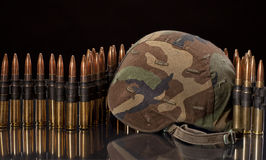 Ballistic helmet and belt ammunition Stock Images