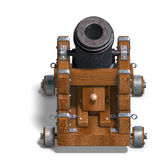 Ballistic mortar cannon. 3D render with clipping path and shadow over white Royalty Free Stock Photography