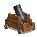 Ballistic mortar cannon. 3D render with clipping path and shadow over white Royalty Free Stock Image