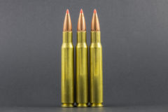 3 Ballistic Tip Rifle Rounds. With a black background Royalty Free Stock Image