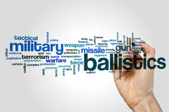 Ballistics word cloud. Concept on grey background Royalty Free Stock Photo