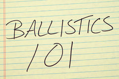 Ballistics 101 On A Yellow Legal Pad. The words `Ballistics 101` on a yellow legal pad Stock Photo