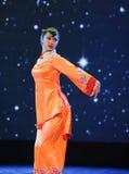 Ballo arancio delle rosso-gente Fotografia Stock Libera da Diritti