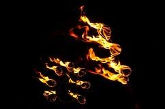 Ballo ardente al tempio del Kerala Immagine Stock
