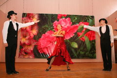 Ballo Carmen il numero esotico di ballo di ballo nazionale nello stile spagnolo ha eseguito dai ballerini dell'insieme dei balli  Fotografia Stock Libera da Diritti