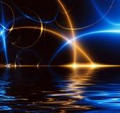 Ballo degli indicatori luminosi nello scuro, frattalo 02FX3w Fotografia Stock