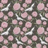 Ballo degli uccelli della gru, fiori rosa della peonia Priorità bassa di ripetizione floreale watercolor illustrazione di stock