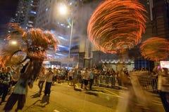 Ballo del drago del fuoco Fotografia Stock Libera da Diritti