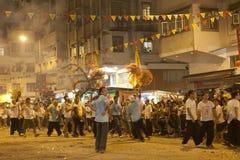 Ballo del drago del fuoco di caduta del Tai a Hong Kong Immagini Stock Libere da Diritti