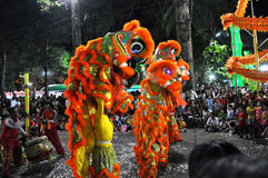 Ballo del drago durante il nuovo anno lunare di Tet nel Vietnam Fotografia Stock