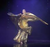 Ballo del mondo dell'Austria di ballo- della pancia della vestito-Turchia della stagnola di oro Immagini Stock Libere da Diritti