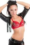 Ballo della donna di sensualità in costume sexy Fotografia Stock