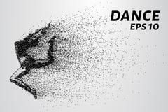 Ballo delle particelle Dancing della ragazza nel salto Un ballerino esegue gli elementi acrobatici Illustrazione di vettore Fotografia Stock Libera da Diritti