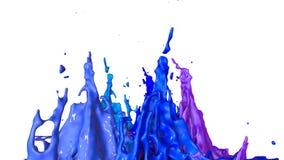 Ballo delle pitture su fondo bianco La simulazione di 3d spruzza di inchiostro su un altoparlante musicale quella musica del gioc Immagine Stock