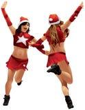 Ballo di iChristmas delle ragazze di Santa Claus Fotografia Stock