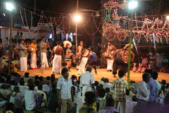 Ballo di Karakattam con musica Fotografia Stock Libera da Diritti