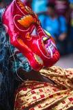 Ballo di Lakhey a Kathmandu Nepal, ballo della maschera immagine stock