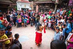 Ballo di Lakhey a Kathmandu Nepal, ballo della maschera immagini stock
