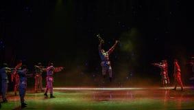 Ballo etnico della rottura-Cina del marzo lungo del trombettista- Immagine Stock Libera da Diritti