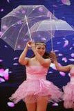 Ballo sexy classico cinese dell'ombrello di bellezza Immagini Stock