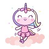 Ballo sveglio di Unicorn Cartoon su colore pastello di vettore animale del bambino della nuvola con la stella di amore e del cuor royalty illustrazione gratis