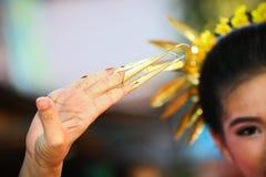 Ballo tailandese del chiodo alla provincia di chiangmai Cultura tailandese che mostra nella festa Cultura della Tailandia dalle d Fotografie Stock