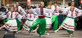 Ballo tradizionale al giorno di cultura ucraina a Barcellona Immagini Stock Libere da Diritti