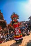 Ballo tradizionale di Dio in Bhaktapur, Nepal Immagini Stock Libere da Diritti