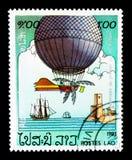Ballon à air avec les ailes, 200 ans de serie d'aviation, vers 1983 Image libre de droits