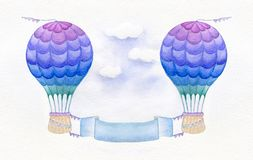 Ballon à air chaud coloré d'isolement sur le fond blanc Illustration d'aquarelle Ballons à air chauds avec les bannières vertical Illustration de Vecteur