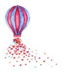 Ballon à air chaud d'aquarelle et beaucoup de coeurs image stock