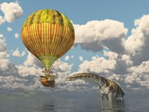 Ballon à air chaud d'imagination et l'Argentinosaurus de dinosaure illustration stock
