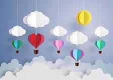 Ballon à air chaud dans une forme de coeur Image libre de droits
