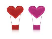 Ballon à air chaud de coeur rouge et rose de tissu Image stock