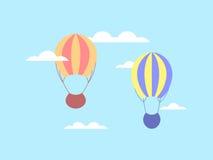 Ballon à air chaud en nuages Ballon dans le ciel Vecteur Image stock