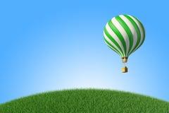 ballon à air chaud Vert-blanc dans le ciel bleu Images libres de droits