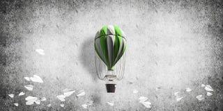 Ballon à air chaud volant dans la chambre Photos libres de droits