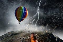 Ballon à air dans la tempête Photographie stock