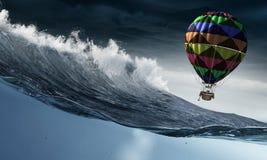 Ballon à air dans la tempête Photo libre de droits