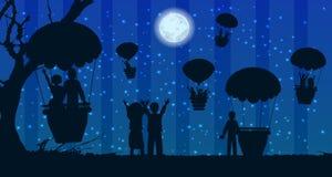 Ballon à air de paysage de voyage de silhouette de personnes Photos stock
