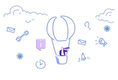Ballon à air de vol d'homme d'affaires regardant projet réussi d'icônes sociales de media de concept de vision d'affaires de jume illustration stock