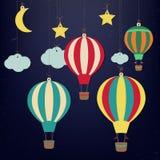 Ballon à air et lune chaud avec des étoiles Papier-art de vecteur Image libre de droits