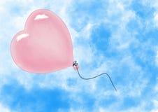 Ballon αέρα μορφής καρδιών που πετά στον ουρανό απεικόνιση αποθεμάτων