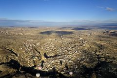 Ballon ζεστού αέρα ταξίδι στο cappadocia, Τουρκία Στοκ Εικόνες
