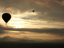 Ballon. Pic taken on a balloon 700 meters above the ground in the Center Mexico at 6:50 a.m Stock Image