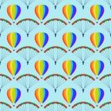 Ballon aerostat transport seamless pattern vector. Stock Photo