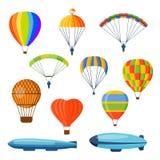 Ballon aerostat transport vector set. Stock Image