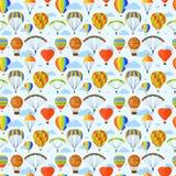 Ballon aerostat transport vector set. Illustration with different aerostats flat icons cartoon graphic. Modern balloon aerostat transport sky hot fly adventure Royalty Free Stock Photo