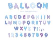 Ballon blauwe doopvont De de leuke letters en getallen van ABC Voor verjaardag, de douche van de jongensbaby Stock Foto's