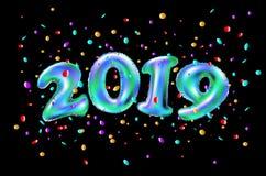 Ballon bleu de vecteur 2019 réalistes nombres et confettis de fête, fond noir Illustration de vacances Nouvel 2019 ans heureux illustration libre de droits